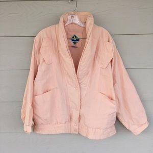 VINTAGE Blush Pink Linen Bomber Jacket